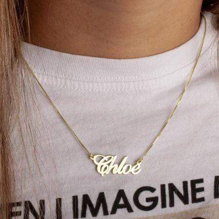 14K Solid Gold Classic Name Necklace - CartiCo London