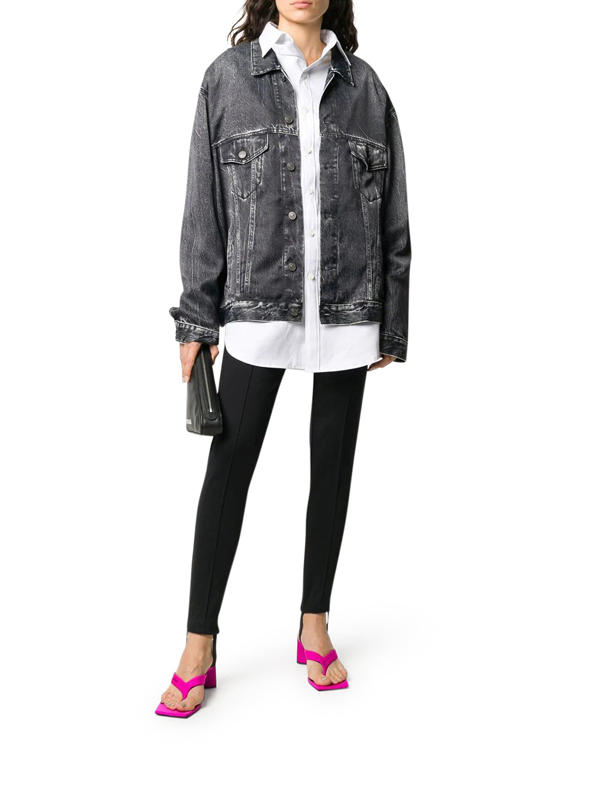 Giacca con stampa denim oversize