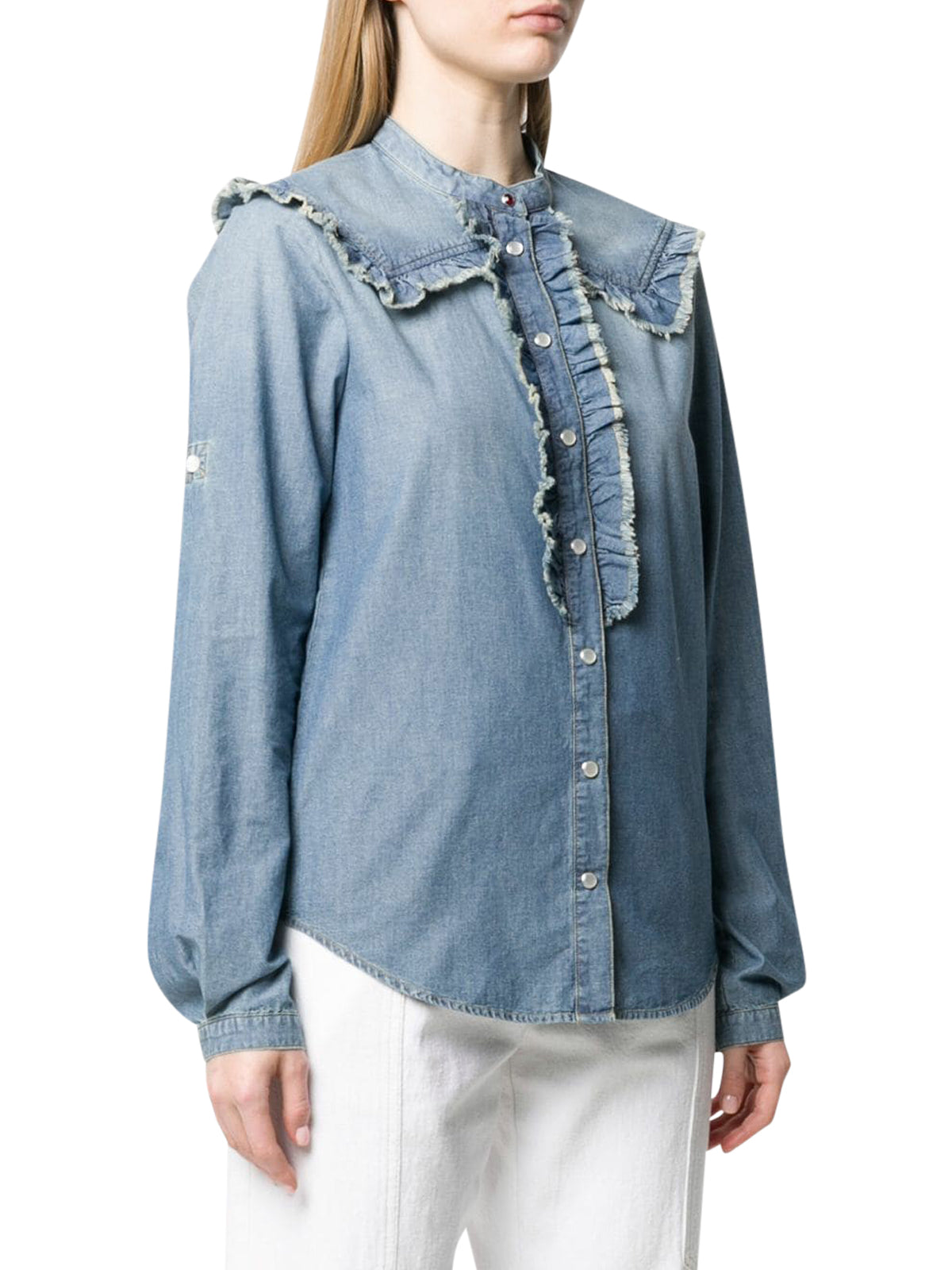 Camicia denim con ruches