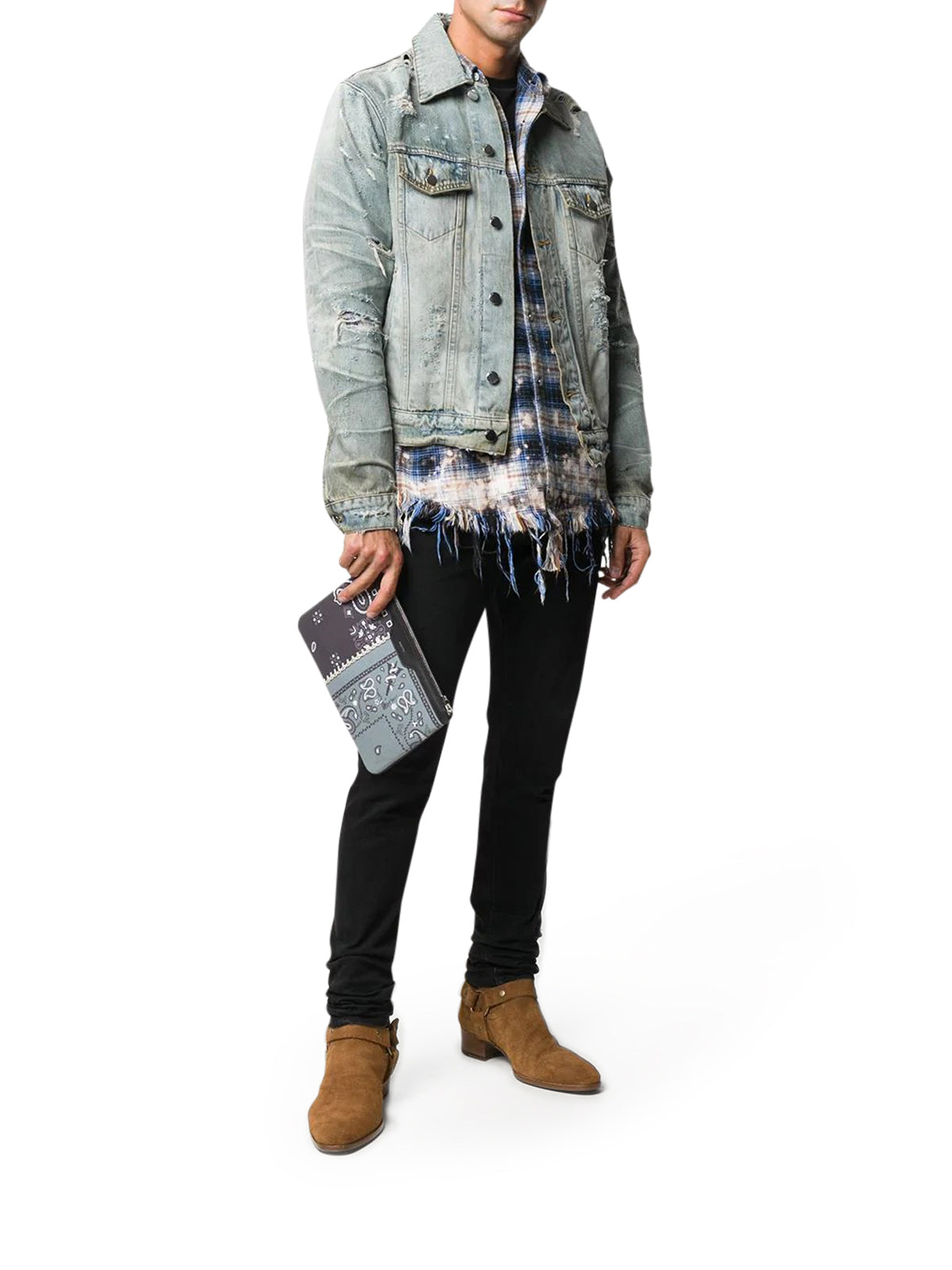giacca in denim effetto distressed