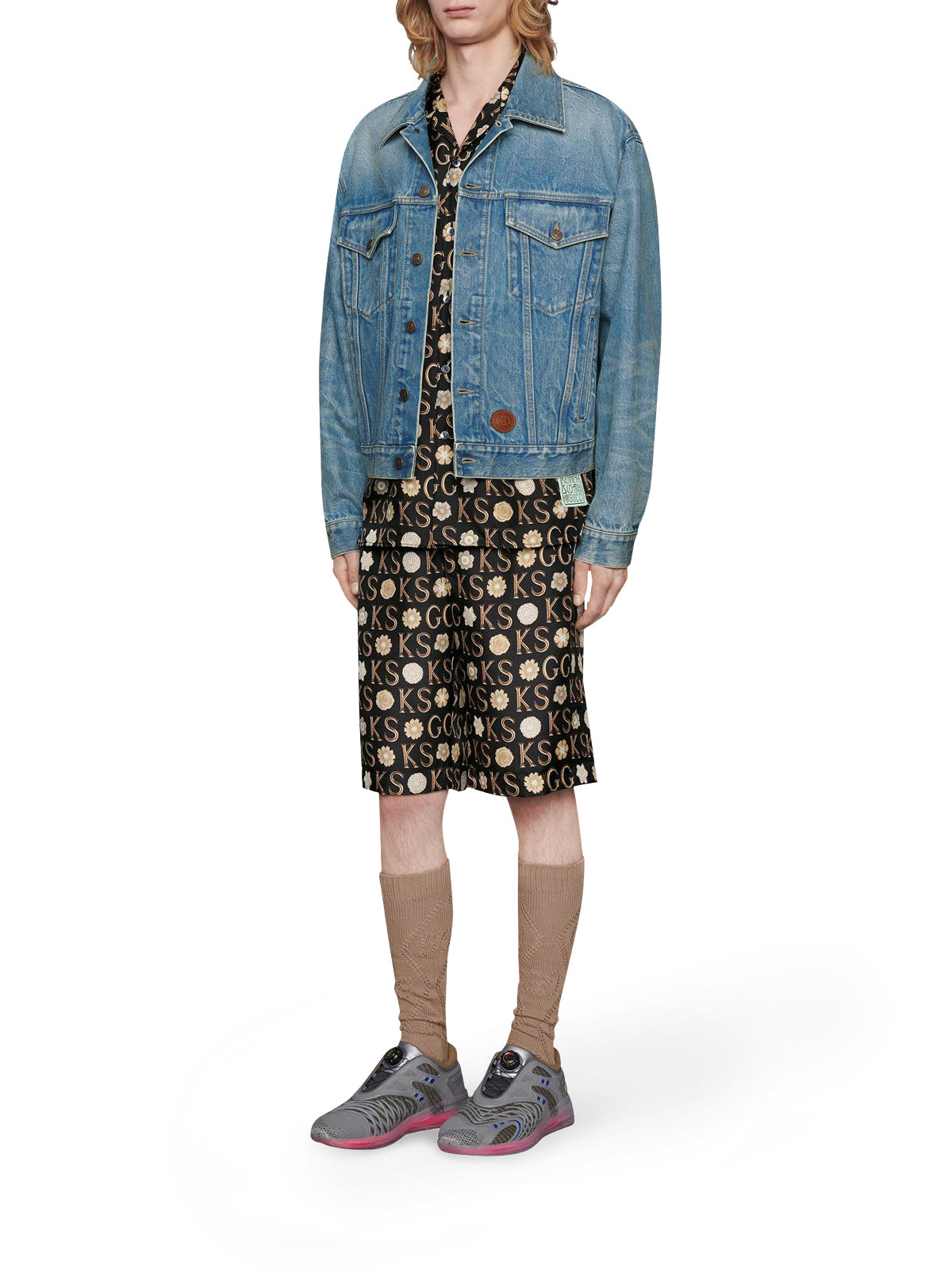 Shorts in seta con stampa Ken Scott x Gucci
