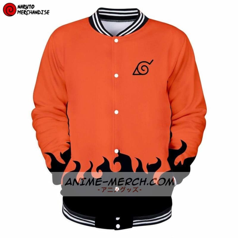 naruto baseball varsity jacket sixth hokage orange