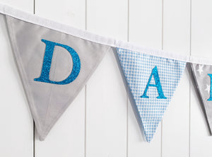 Blue Grey Name Bunting - Glitter Lettering
