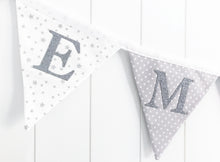 Load image into Gallery viewer, Grey White Name Bunting - Glitter Lettering