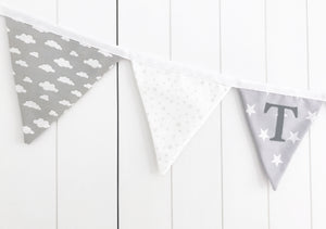 Grey White Name Bunting - Cotton Lettering