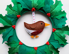 Load image into Gallery viewer, Christmas Holly Robin Wreath