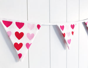 Pink Red Hearts Bunting - Mini