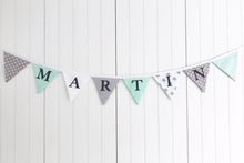 Load image into Gallery viewer, Mint Green Grey Name Bunting - Cotton Lettering