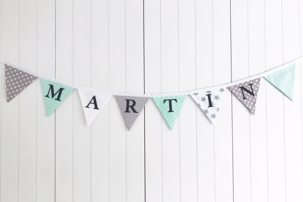 Mint Green Grey Name Bunting - Cotton Lettering