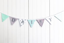 Load image into Gallery viewer, Mint Green Grey Name Bunting - Glitter Lettering