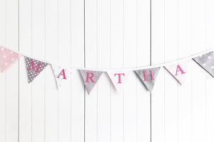 Pink Grey Name Bunting - Cotton Lettering