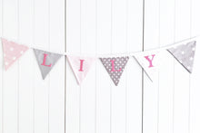 Load image into Gallery viewer, Pink Grey Name Bunting - Cotton Lettering