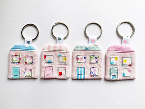 Mini House Keyring - Pink Linen - New Home - Key Chain