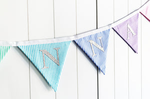 Sew Your Own Name Bunting Kit - Rainbow Candy Stripe