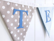 Load image into Gallery viewer, Blue Grey Name Bunting - Cotton Lettering