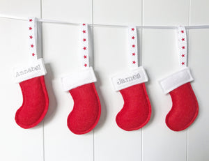 Mini Personalised Christmas Stocking Decoration