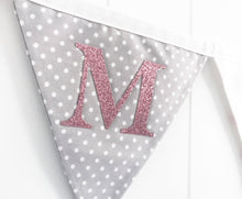 Load image into Gallery viewer, Pink Grey Name Bunting - Glitter Lettering