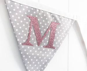 Pink Grey Name Bunting - Glitter Lettering