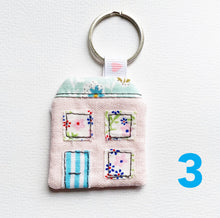 Load image into Gallery viewer, Mini House Keyring - Pink Linen - New Home - Key Chain