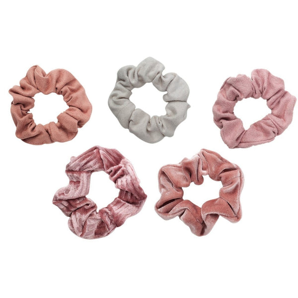 5pc Velvet Scrunchies - Blush and Mauve