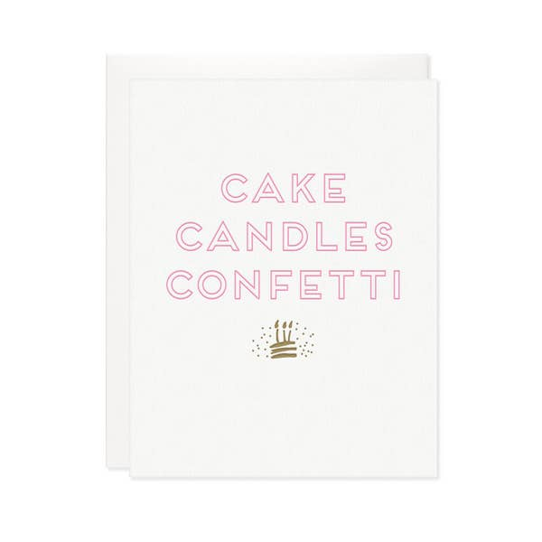 Card, Cake Candles Confetti