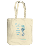 "Earthaware ""Spirit of the Sea"" Organic Canvas Tote Bag - Natural Cream, Beach Blue or Shell Pink"