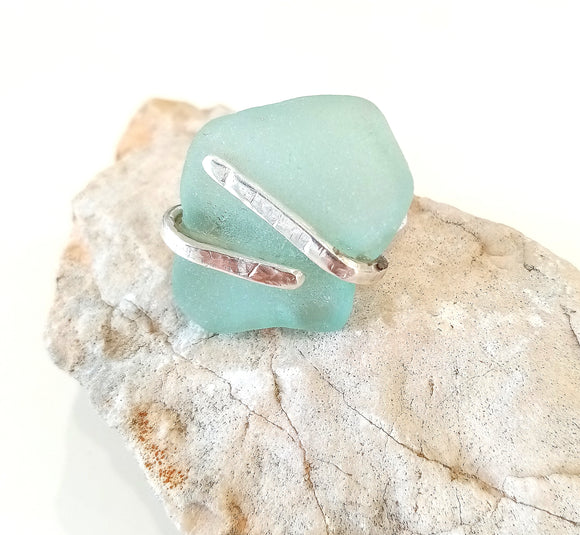 Handforged Aqua Seaglass Ring