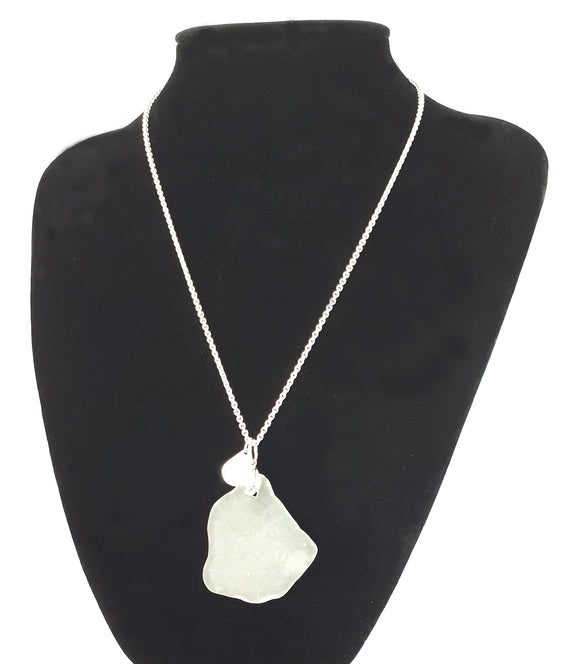 Wedding Bells -  White Seaglass & Sterling Silver Pendant on Sterling Silver Chain - Seahorse