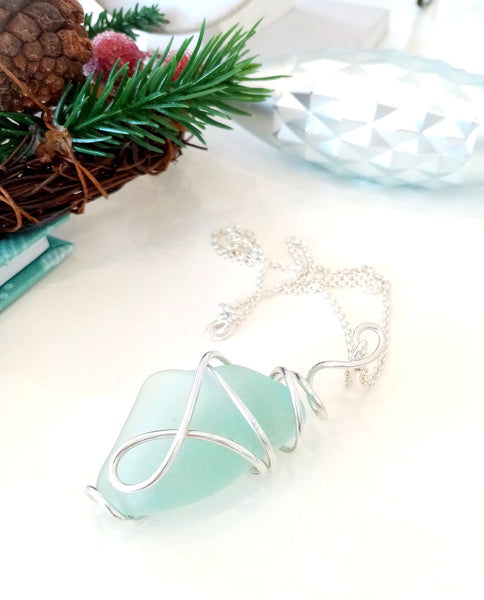 """Mermaid"" Aqua Seaglass & Silver Twist Pendant on Sterling Silver Chain"
