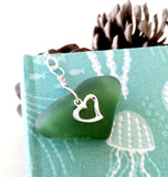 Sterling Silver & Seaglass Heart Bookmark