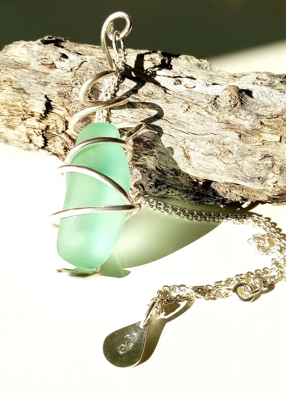 Large EcoSilver Wrapped Light Blue Seaglass Pendant on Sterling Silver Chain