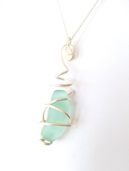 Blue Seaglass & Silver Pendant on Sterling Silver Chain