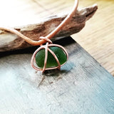 Copper Basket with Frosted Emerald Green Seaglass on Leather Cord
