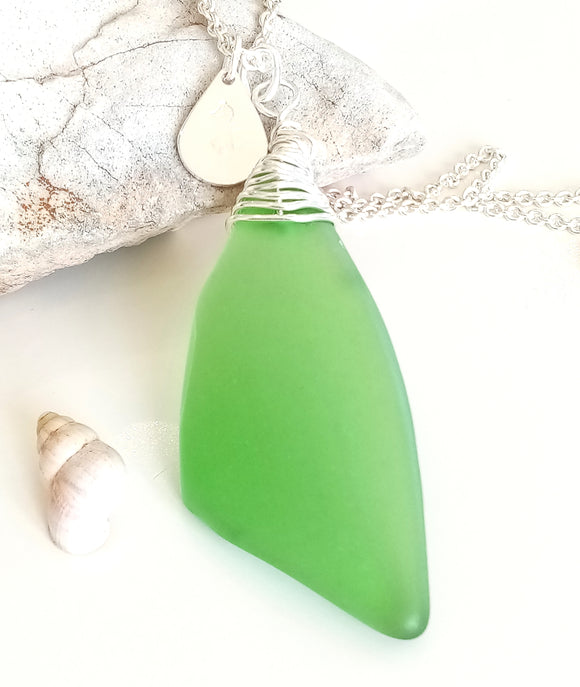 Wrapped Emerald Green Seaglass on Sterling Silver Chain
