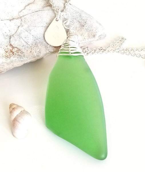 Emerald Green Seaglass on Sterling Silver Chain