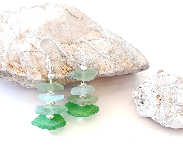 Summer Seas Seaglass & Sterling Silver Earrings
