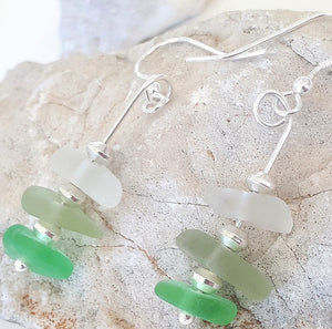 "Mermaid ""Seafoam"" Seaglass & Sterling Silver Earrings"