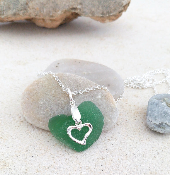 Frosted Emerald Green Seaglass & Silver Loveheart Pendant on Sterling Silver Chain