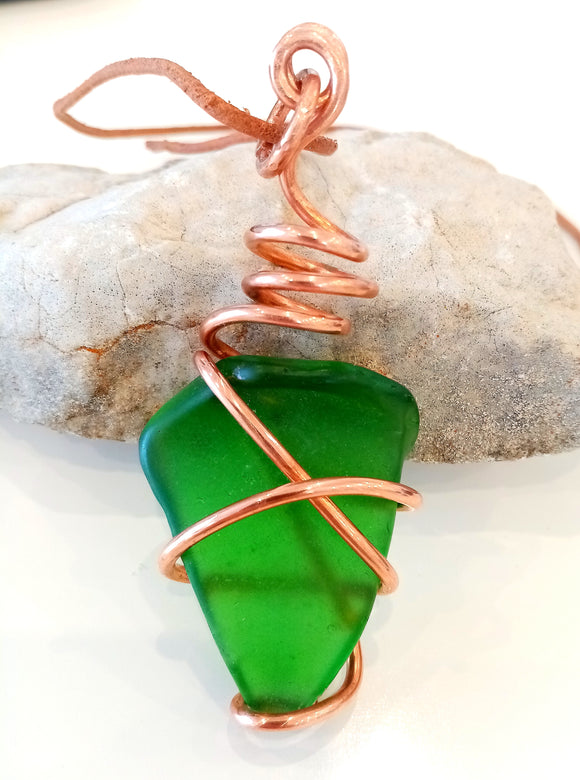 Copper Spiral & Emerald Green Seaglass on Leather Cord