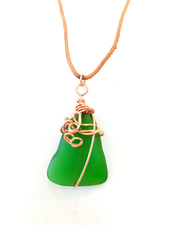 Copper Spirals & Emerald Green Seaglass on Leather Cord