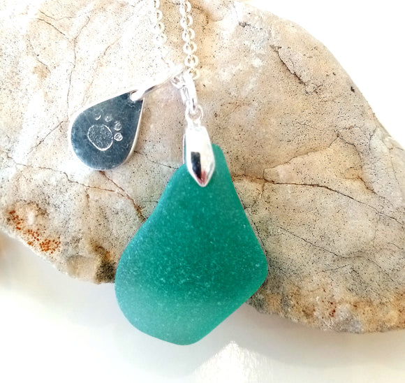 Large Jade Seaglass & Loveheart/Pawprint Tab on Sterling Silver Chain