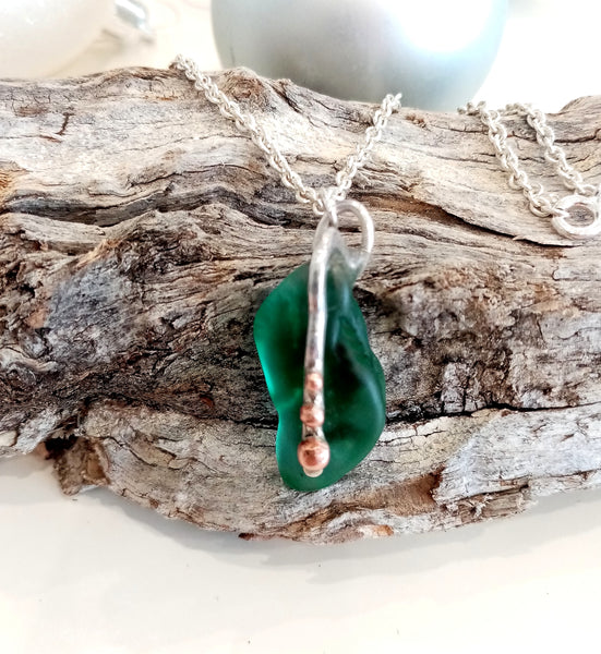 Jade Seaglass with hammered silver and copper bead trim