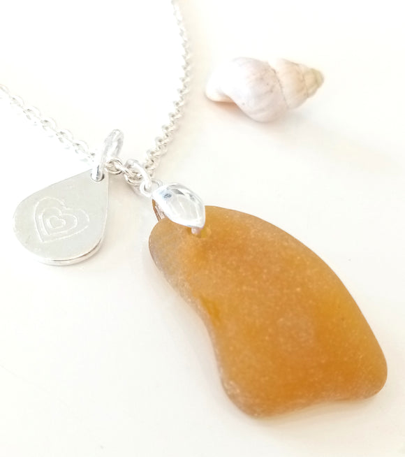 Amber Seaglass & Loveheart/Pawprint Tab on Sterling Silver Chain