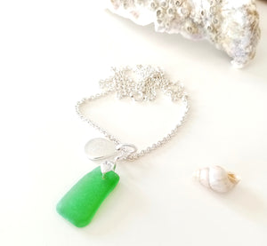 Emerald Green Seaglass & Loveheart/Pawprint Tab on Sterling Silver Chain