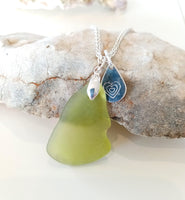 Lime Seaglass & Loveheart/Pawprint Tab on Sterling Silver Chain