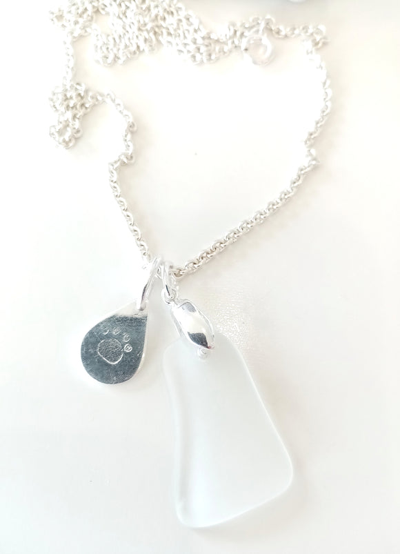 White Seaglass & Loveheart/ Pawprint Tab on Sterling Silver Chain