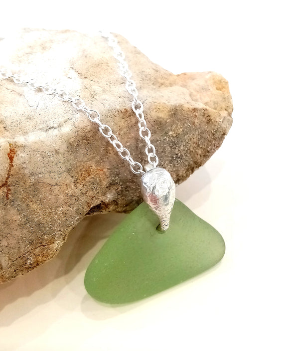 Mermaid Purse ~ Frosted Green Seaglass & Hand-forged Ecosilver Bail Pendant on Sterling Silver Chain