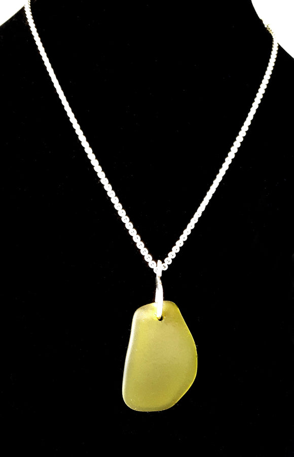Dark Lime Green Seaglass on Hammered Sterling Silver