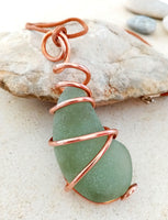 Soft Frosted Green Seaglass & Copper Spiral on Leather Cord