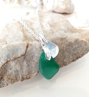 Jade Seaglass & Loveheart/Pawprint Tab on Sterling Silver Chain